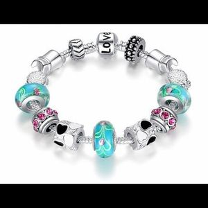 Jewelry - Silver and turquoise blue charm bracelet